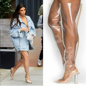 Clear Thigh High Perspex Boots